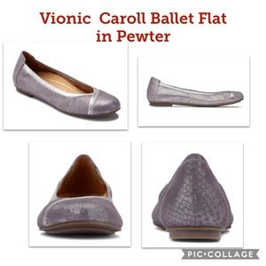 NEW Vionic Caroll Ballet Flat in Pewter - Size 9
